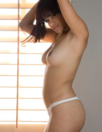 Bambi wolfe sheds her blue jacket and white bra and panties