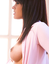 Bambi wolfe strips off her pink top