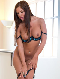 Angelica heart takes off her black and blue bra and panties